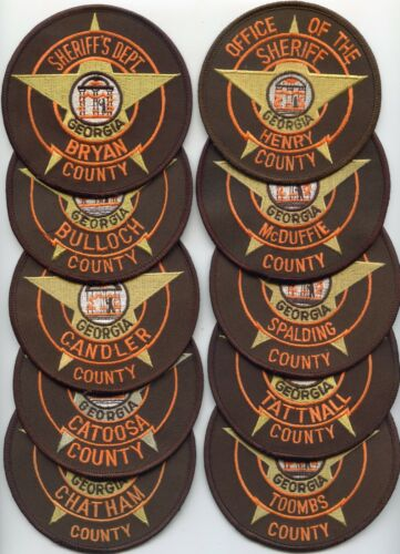 GEORGIA SHERIFF PATCH COLLECTORS SPECIAL 10 Police Patches SHERIFF POLICE PATCH