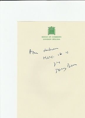 Tony Benn. Hand written note from Famous British Member of Parliament