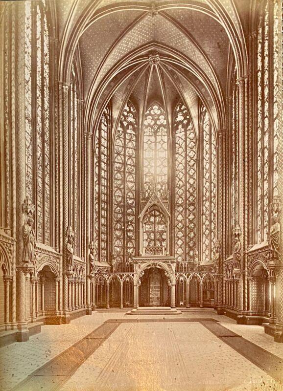 Albumen silver print Interior Sainte Chapelle Photographer J Kuhn circa 1880s