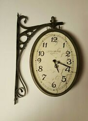 Manchester Clock Co. Double Sided 18 Train Station Style  Metal Frame