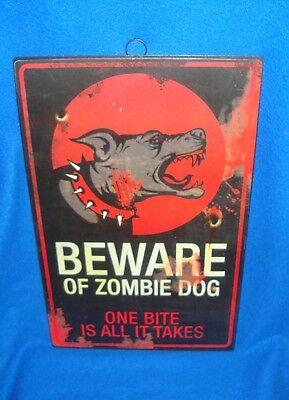 Halloween Metal Sign Beware of Zombie Dog New