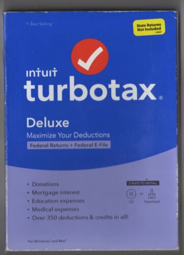 TurboTax Deluxe Federal Only 2020 CD & Download Key Card