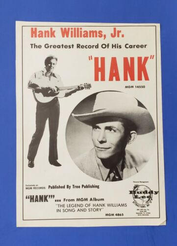 "Original 1973 Hank Williams Jr. ""Hank"" Lp Promo Trade Ad"