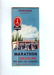 Vintage Marathon Gasoline The Ohio Oil Company Map of Indiana And Central U.S.
