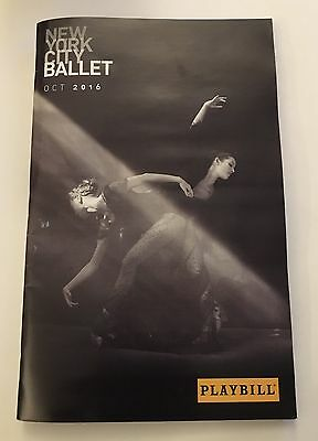 New York City Ballet NYCB Playbill 10/16 Glass Pieces Thou Swell Stars & Stripes