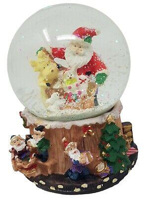 3D Schneekugel Spieluhr Kugel Weihnachtsmann Weihnachtsszene aus  echtem Glas