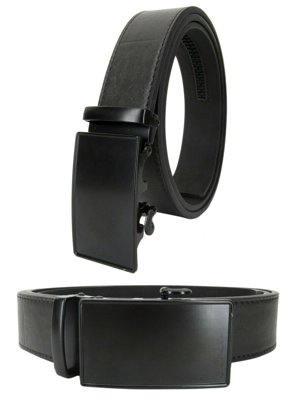 Men Genuine Leather Automatic Ratchet Click Lock Matte Black Belt Buckle Belt Belts