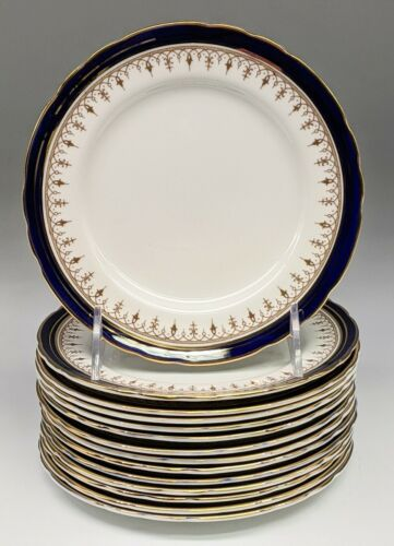 Set 6 & 8 Aynsley Bone China Leighton Cobalt and Gold BREAD & BUTTER Plates 6.5""