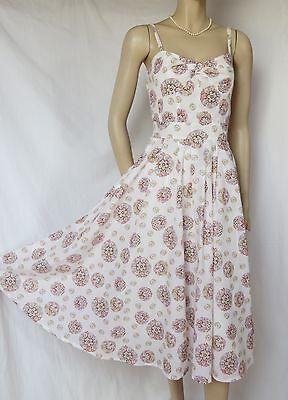 Laura Ashley Kleid 40 Baumwolle weiß Blumen rosa hellblau Hochzeit Sommer Urlaub
