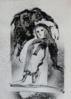 GHOST STORY INK PAINTING drawing original art Halloween spooky gift mother child](Halloween Origin Story)