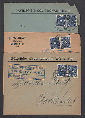 Germany Sc 189 Pairs On 3 Diff 1923 Banhpost Covers To Deutsche Bank In Berlin
