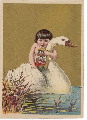 Lavine Soap Victorian Trade Card Hartford Chemical Small Child Rides Large Swan