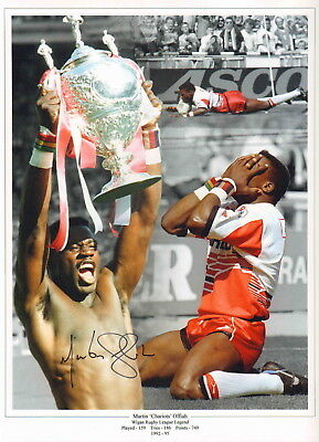 """WIGAN- RUGBY LEGEND-12x16"""" MONTAGE PHOTO HAND SIGNED by MARTIN OFFIAH-AFTAL/UACC"""
