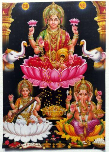 Old Unique Vintage Paper Laminated Poster Mata Lakshmi Saraswati Ganesha  11x16