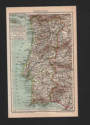 Landkarte map 1897: PORTUGAL. Europa Maßstab: 1 : 2.800 000