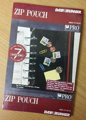 Pack Of 2 - Day Runner Zip Pouch 5 X 8 For 3 Or 7 Ring Organizers - New