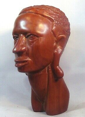 Well Carved African Bust of Tribesman. Probably Masai  5.25 inches or 13 cm