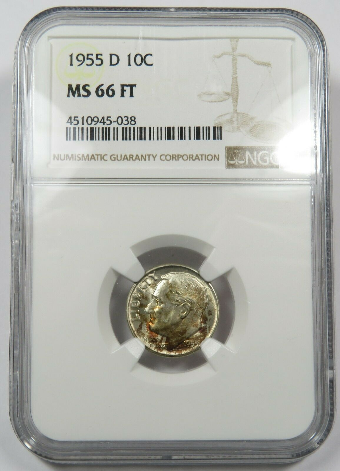 1955-D NGC MS 66 FT Full Torch Mint State Silver Roosevelt Dime US Coin #24883A