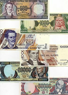 ECUADOR set of 6 UNC 500,1000,5000,10000,20000,50000 Sucres 1988-1999