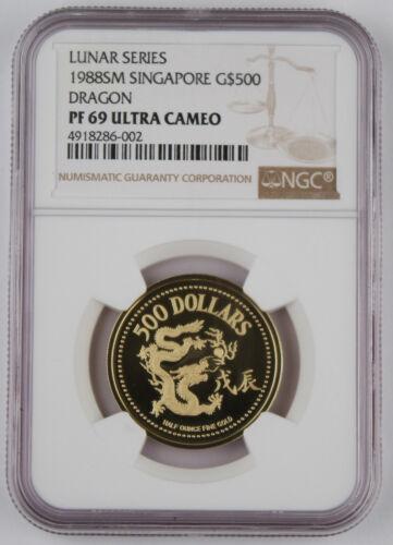 Singapore 1988 SM Year of Dragon 1/2 OZ AGW Gold Proof Coin NGC PF69 UC KM# 73