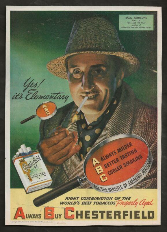 1946 SHERLOCK HOLMES ORIG DRESSED TO KILL MAGAZINE AD BASIL RATHBONE