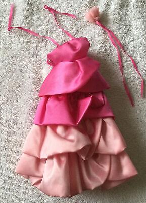 80's Superstar Era Barbie *SWEET ROSES* PJ Original Pink GOWN w Rose Neck Ribbon