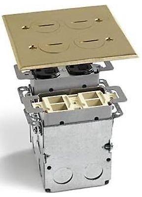 LEW ELECTRIC SWB-4-PQ FLOOR BOX & BRASS COVER  2 GANG