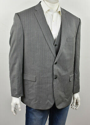 JOSEPH ABBOUD Gray Striped 4-Season Wool Custom Tailored Jacket & Vest Set 52R