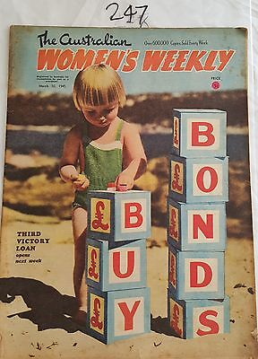 AUSTRALIAN WOMENS WEEKLY 1945 MAR 10,WAR BONDS,FASHION ADS,KELLOGGS,PYREX