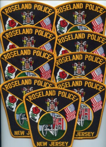 ROSELAND NEW JERSEY Patch Lot Trade Stock 9 Police Patches RED ROSE POLICE PATCH