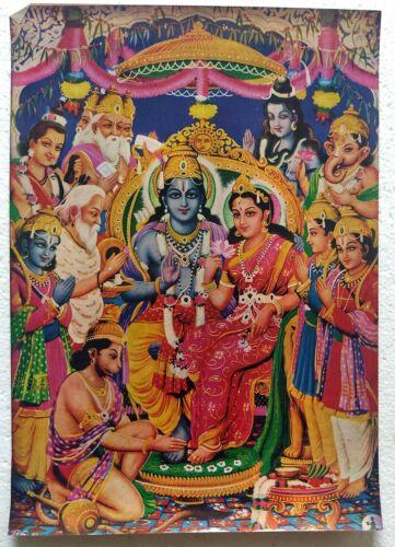 Hindu Religious Old, Rare & Unique Poster of Ram Darbar - 9.5 x 13 Inch