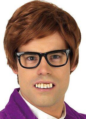 Austin Powers Zähne Brille Perücke 60er Herren Englischer Mann Karneval Kostüm ()
