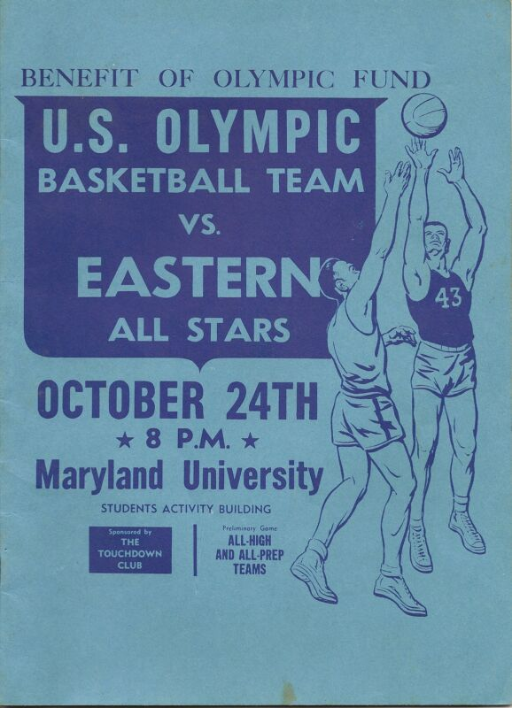 1955 US Olympic Team-East All Stars Basketball Program Russell Jones RARE!!