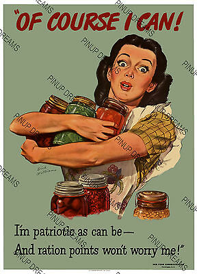 "Vintage Wartime Poster""Of Course I Can""WWII Rationing Ration Wartime re-print"