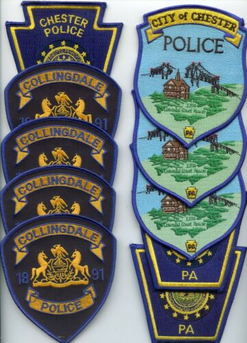 COLLINGDALE & CHESTER PENNSYLVANIA Trade Stock 10 Police Patches POLICE PATCH