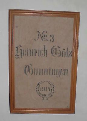 Antike Leinen Holz (sackbild gerahmter korn leinen sack holz rahmen dat 1914 antik top deko bild alt)