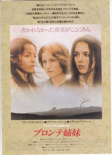 LES SOEURS BRONTE:Isabelle Adjani- Original Japanese  Mini Poster Chirash