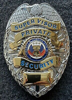 Security Supervisor Badge Liberty Justice For All Silver Gold