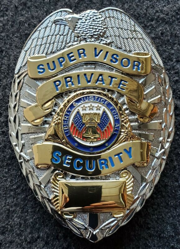 """Security Supervisor Badge """"Liberty & Justice for All"""" (Silver / Gold)"""