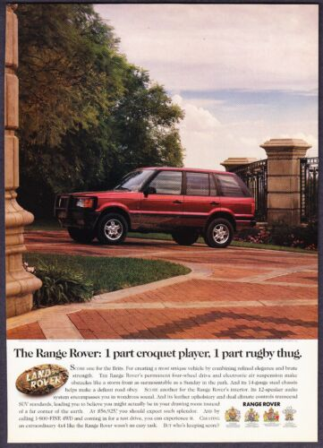 "1999 Land Rover Range Rover photo ""Elegance & Strength"" vintage promo print ad"