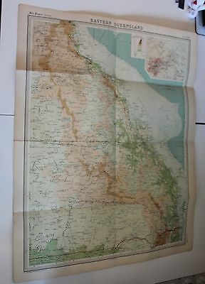 Large 1920's  Map of Eastern Queensland Times Atlas Bartholomew Folded Original