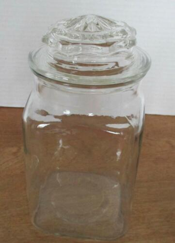 """9-1/2"""" Tall Anchor Hocking Clear Glass Apothecary Jar - 4-1/2"""" Square Base"""