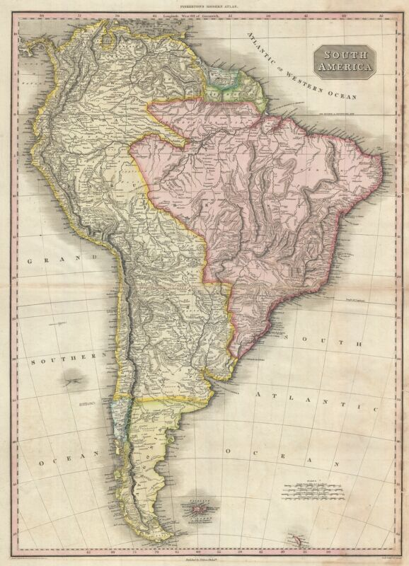 1818 Pinkerton Map of South America