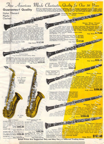 1964 Vintage Clarinets Saxophones German French Mid Century Musical Instruments
