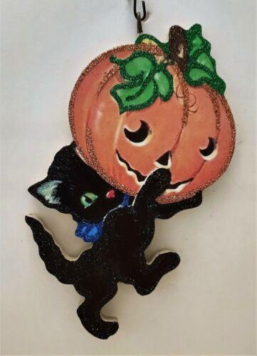 BLACK CAT KITTEN Holding JOL PUMPKIN * Glitter HALLOWEEN ORNAMENT * Vtg Img
