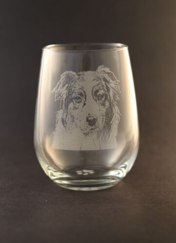 New! Etched Australian Shepherd on Elegant Stemless Wine Glasses - Set of 2