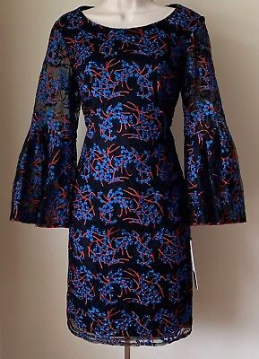 Nicole Miller New York Embroidered Tulle Long Bell Sleeve Sheath Dress NWT 8