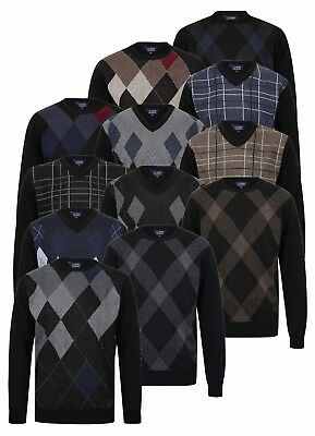 Mens Jumper Argyle Golf Sweater Pullover Crew Neck V Neck Diamond New Knitted