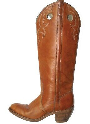 vintage Acme DINGO Campus USA 7 N Brown Leather Cowboy Western Tall Heel Boots