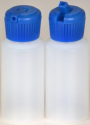 Plastic Bottle w/Blue Turret Lid, 1-oz., (HDPE), 100-Pack, New